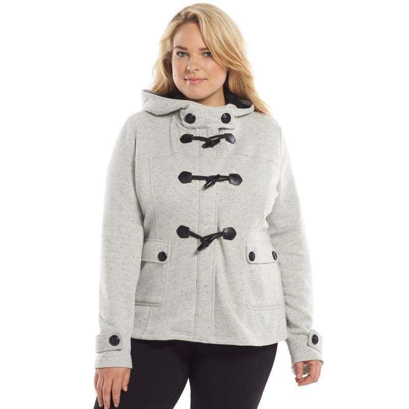 Plus Size Sebby Fleece Toggle Jacket, Women's, Size: 1X, Grey