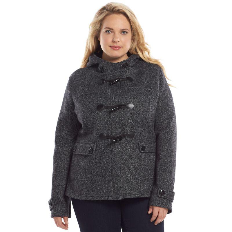 Plus Size Sebby Fleece Toggle Jacket, Women's, Size: 1X, Black