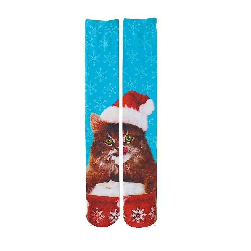 Girls Pink Cookie Holiday Knee-High Socks