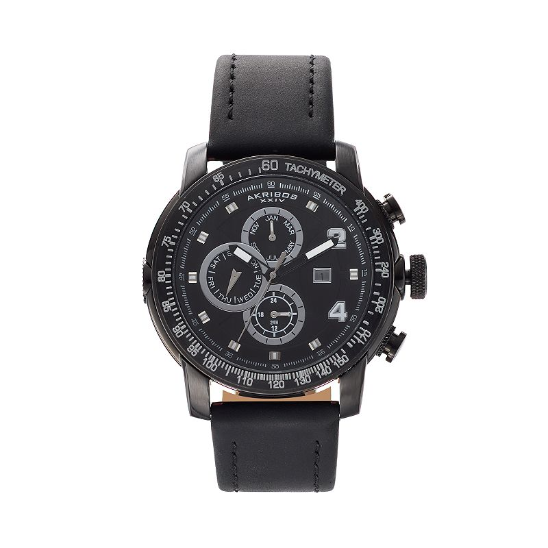 Akribos XXIV Men's Omni Leather Watch - AK743BK