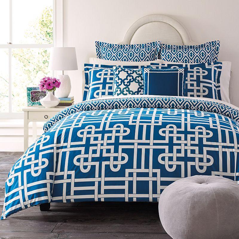 happy chic by jonathan adler samantha 3 pc reversible comforter set blue. Black Bedroom Furniture Sets. Home Design Ideas