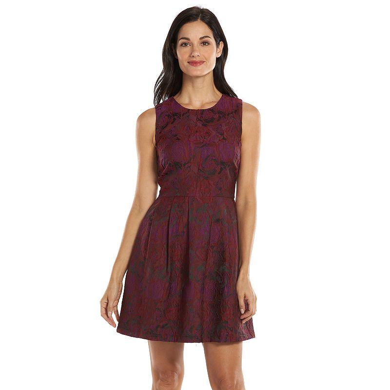 Allen B Floral Jacquard Fit & Flare Dress - Women's