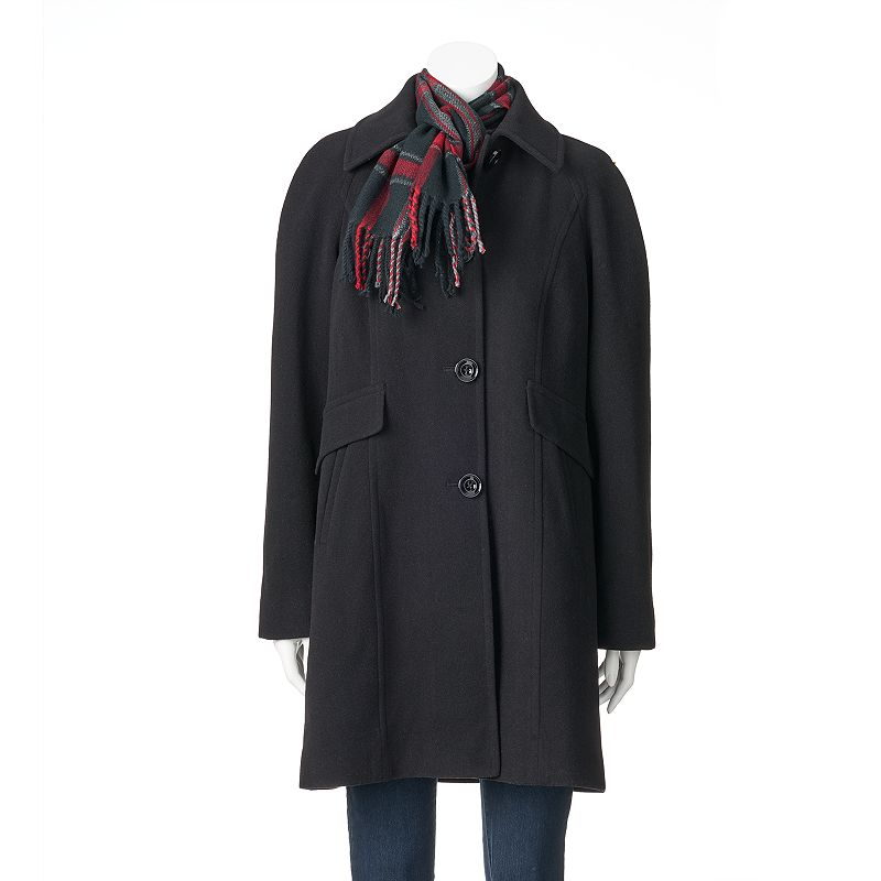 Women's Towne by London Fog Long Wool-Blend Coat with Scarf