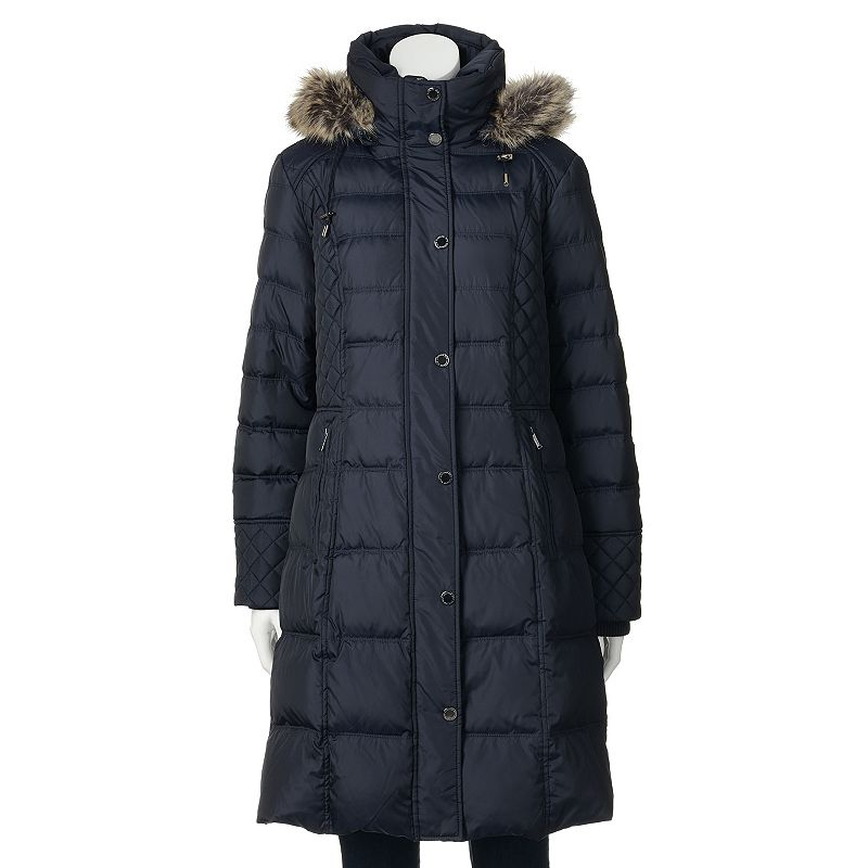 Women's Towne by London Fog Hooded Down Quilted Puffer Walker Coat