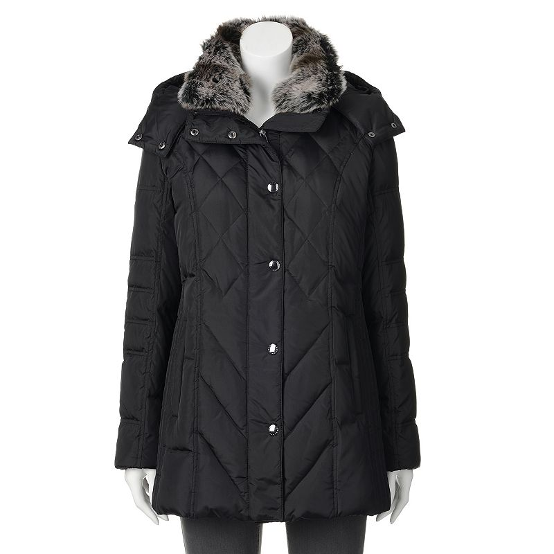 Women's Towne by London Fog Hooded Down Quilted Puffer Jacket