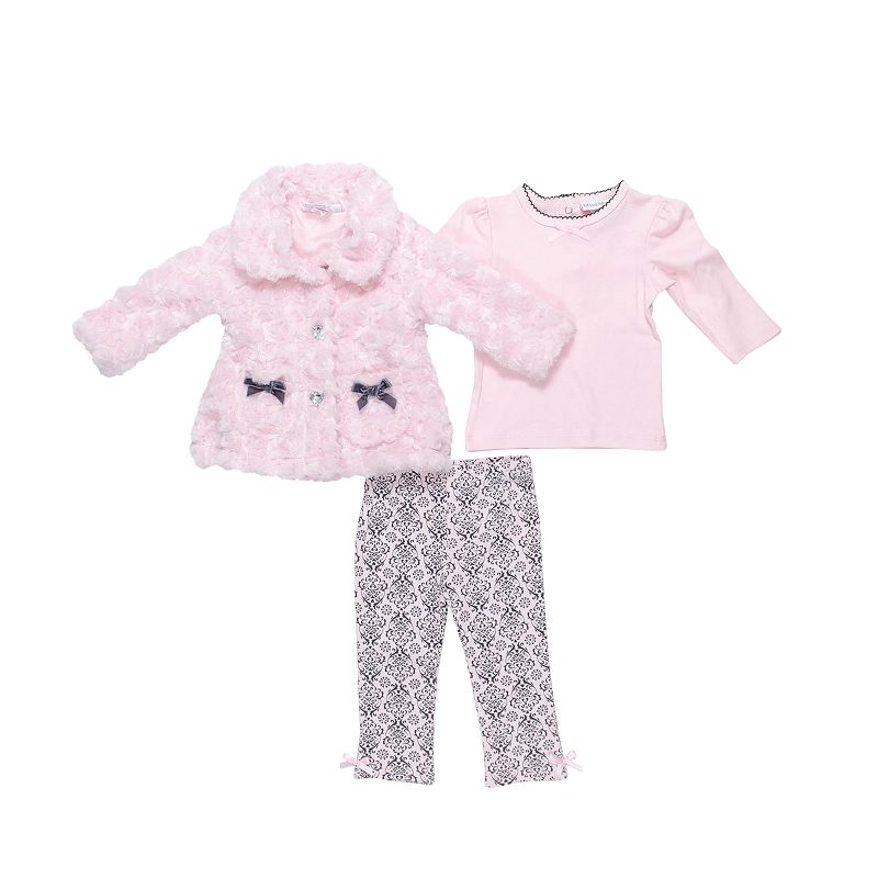 Mini Muffin Baby Girl Faux Fur Jacket & Floral Leggings Set