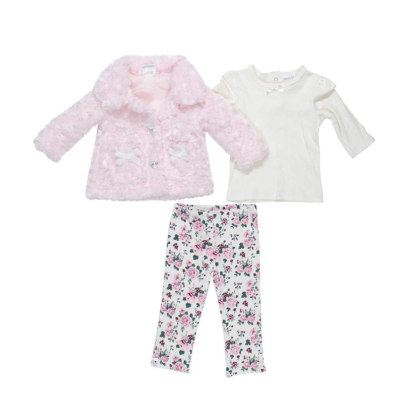 Mini Muffin Baby Girl Faux Fur Jacket & Cheetah Leggings Set