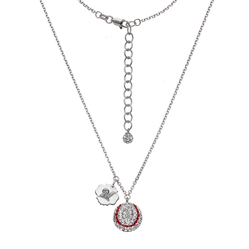 Milwaukee Brewers Crystal Sterling Silver Baseball & Logo Charm Necklace