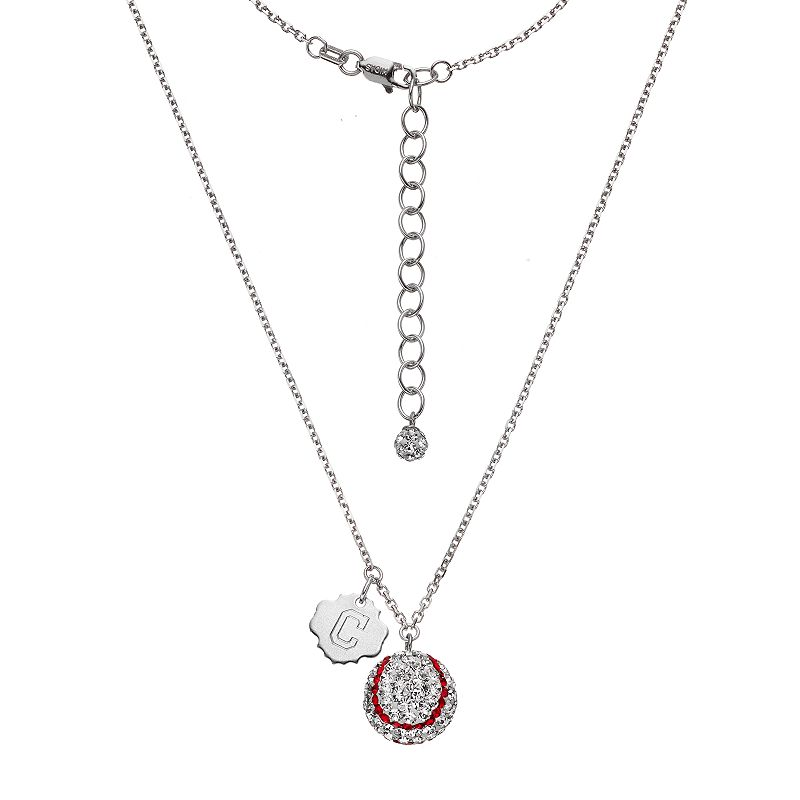 Cleveland Indians Crystal Sterling Silver Baseball & Logo Charm Necklace