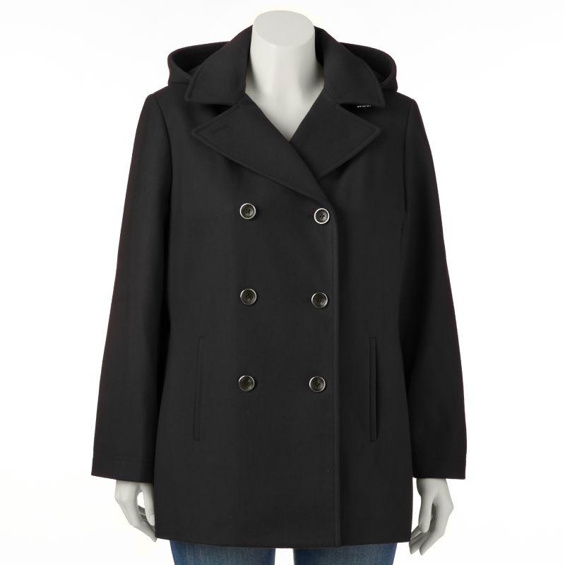 Plus Size Braetan Hooded Double-Breasted Wool-Blend Peacoat, Women's, Size: 1X, Black