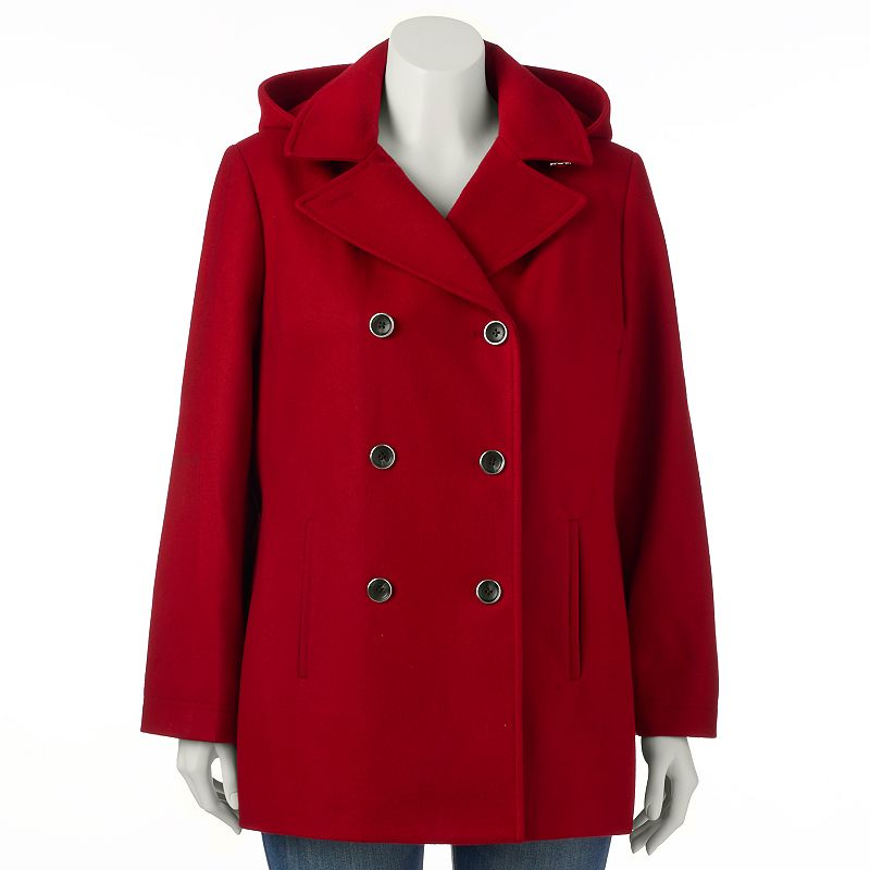 Plus Size Braetan Hooded Double-Breasted Wool-Blend Peacoat