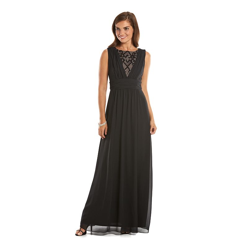 Chaps Draped Embellished Empire Evening Gown - Women's