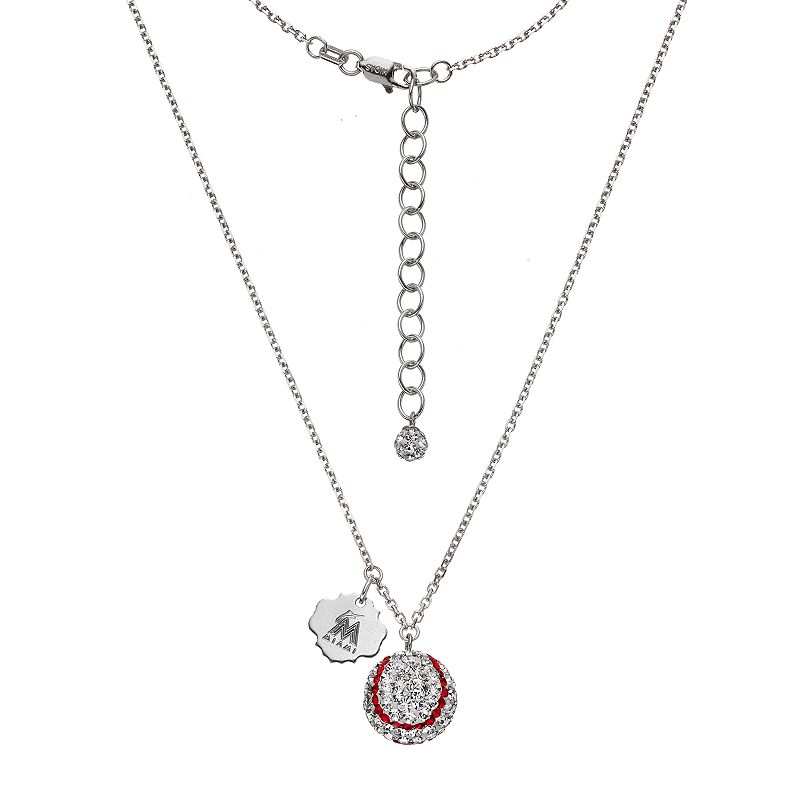 Miami Marlins Crystal Sterling Silver Baseball & Logo Charm Necklace