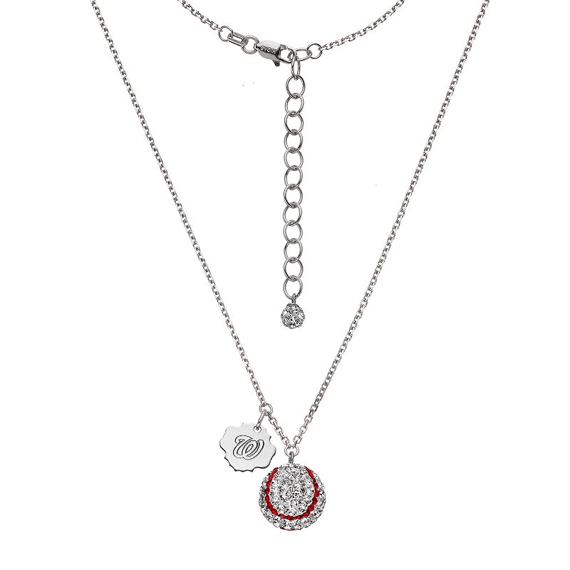 Washington Nationals Crystal Sterling Silver Baseball & Logo Charm Necklace