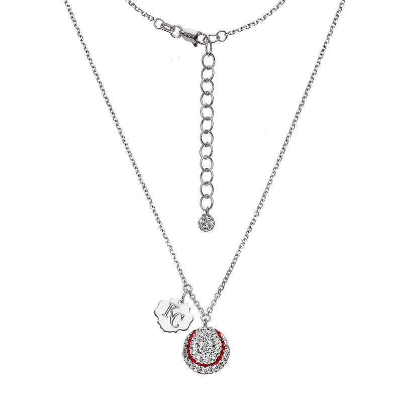 Kansas City Royals Crystal Sterling Silver Baseball & Logo Charm Necklace