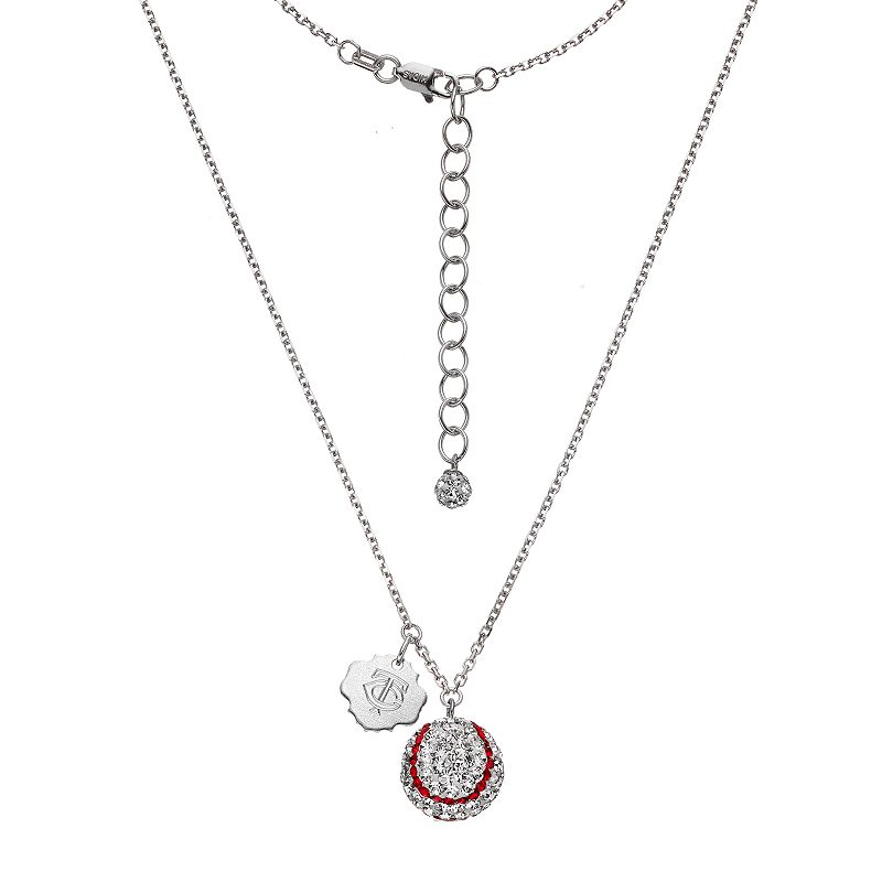 Minnesota Twins Crystal Sterling Silver Baseball & Logo Charm Necklace