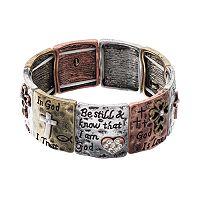 Believe In Cross & Heart Tri Tone Stretch Bracelet