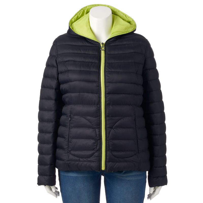 Plus Size Halifax Hooded Reversible Packable Puffer Jacket, Women's, Size: 1X, Green