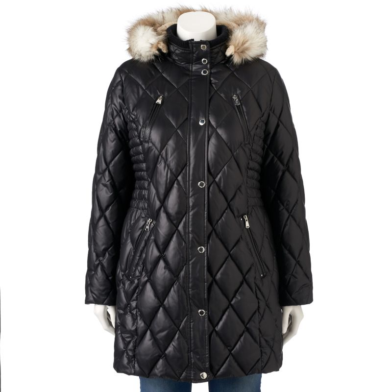 Plus Size Halifax Hooded Quilted Puffer Jacket, Women's, Size: 1X, Black