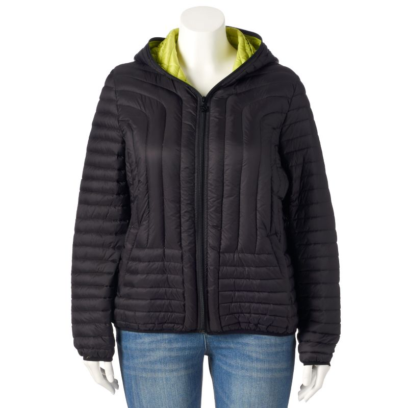 Plus Size Generation NXT Hooded Packable Down Puffer Jacket, Women's, Size: 1X, Green