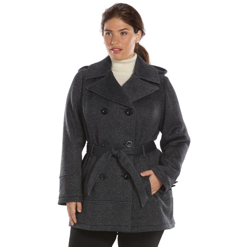 Plus Size Apt. 9 Hooded Double-Breasted Fleece Peacoat, Women's, Size: 1X, Black