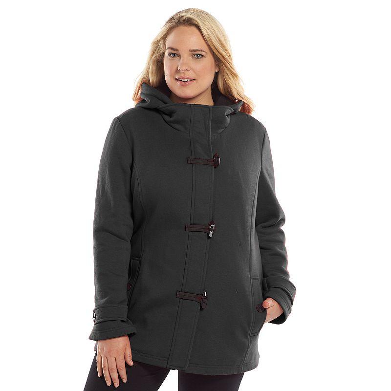 Plus Size Apt. 9® Hooded Fleece Toggle Peacoat
