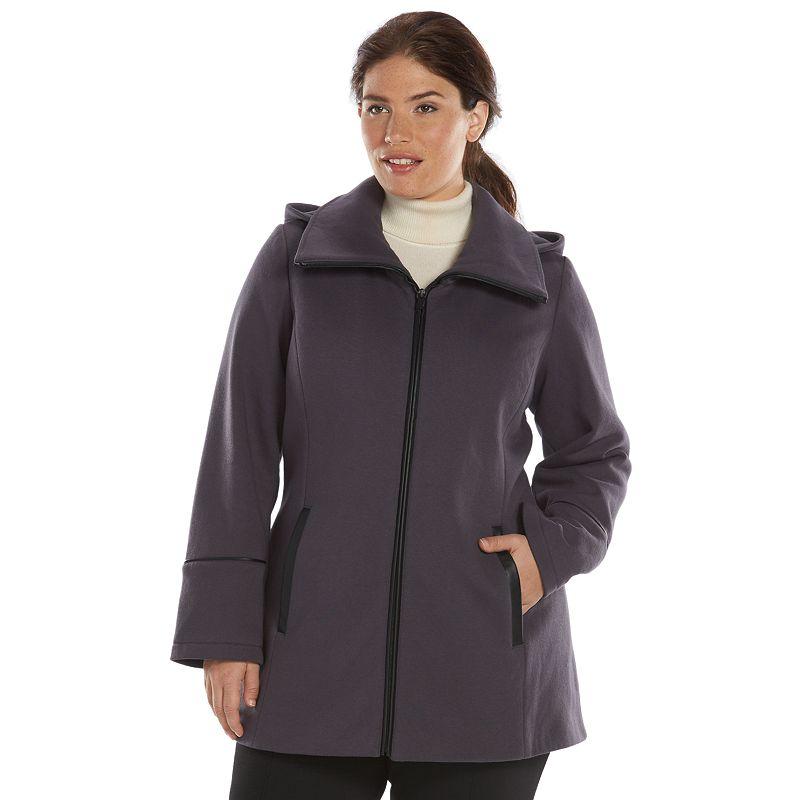 Plus Size Apt. 9 Hooded Fleece Coat, Grey