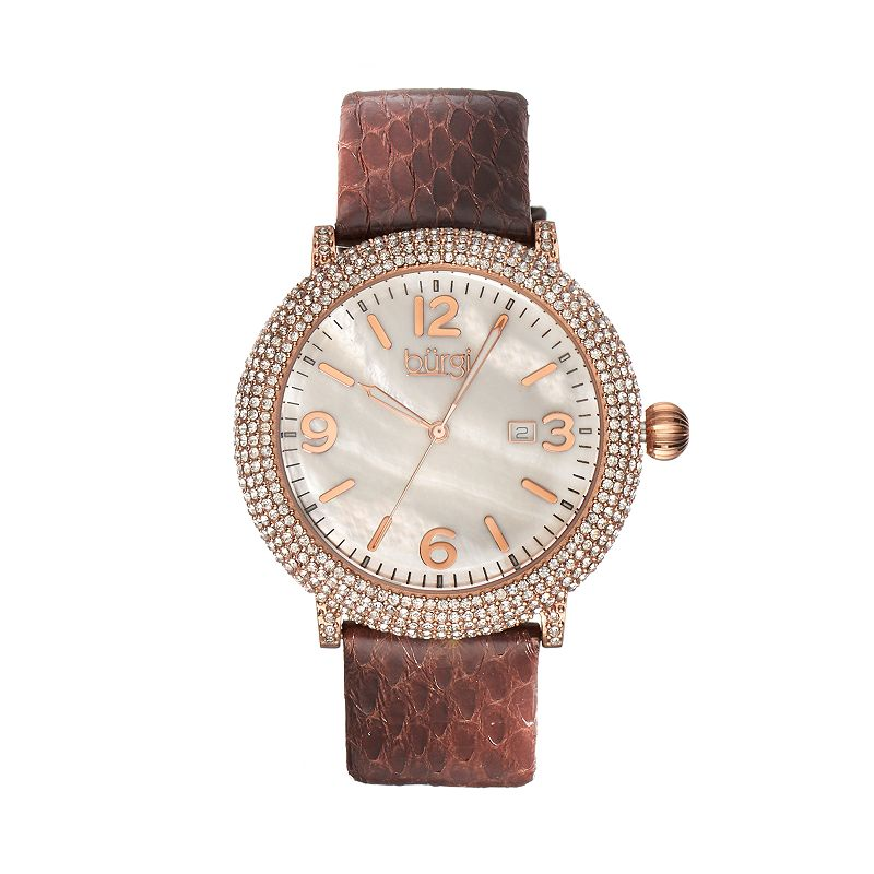 burgi Women's Leather Watch - BUR074BR