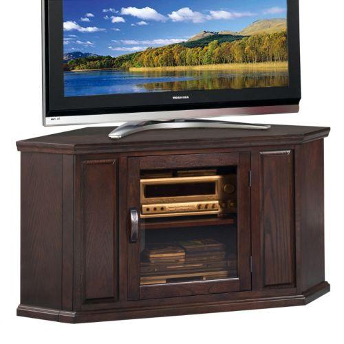 leick furniture chocolate cherry finish corner tv stand corner tv stand in milled cherry 418652