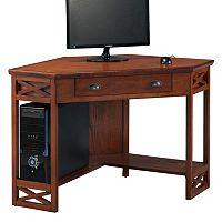 Leick Furniture Oak Finish Corner Computer Desk