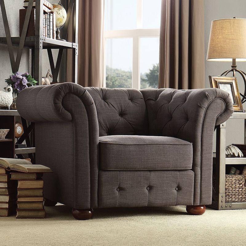 HomeVance Vanderbilt Chesterfield Button Tufted Arm Chair