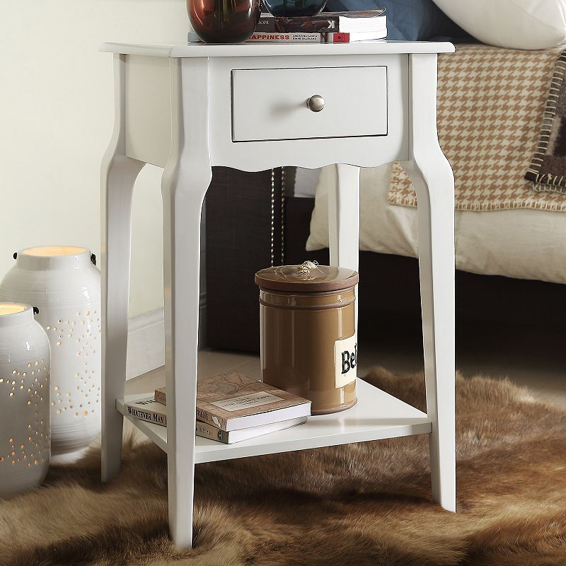 HomeVance Isabella 1-Drawer Scalloped Nightstand, White