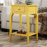HomeVance Isabella 1-Drawer Scalloped Nightstand