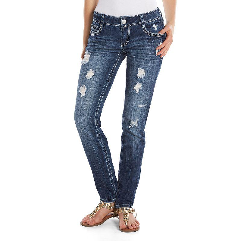 Amethyst 5-Pocket Juniors' Skinny Jeans, Size: Medium (Blue)