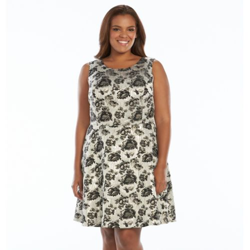 Plus Size Apt. 9® Foil Jacquard Fit & Flare Dress