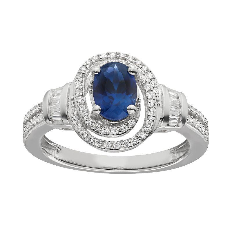 3/8 Carat T.W. Diamond & Sapphire White Gold Halo Ring