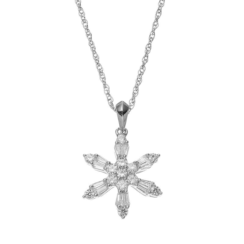 Lab-Created White Sapphire Sterling Silver Snowflake Pendant Necklace
