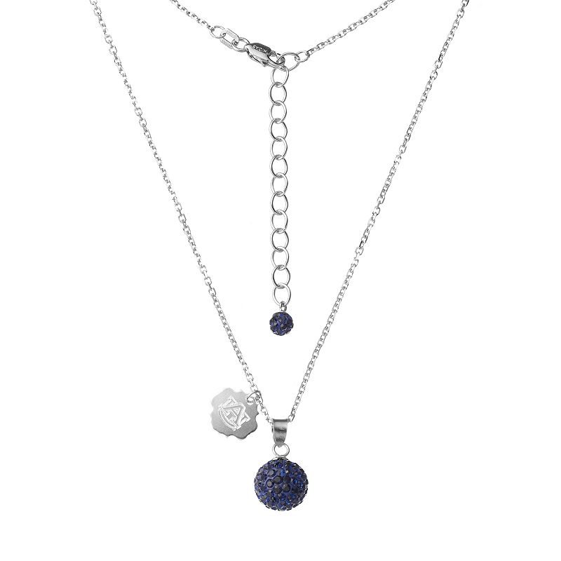 Auburn Tigers Crystal Sterling Silver Team Logo & Ball Pendant Necklace