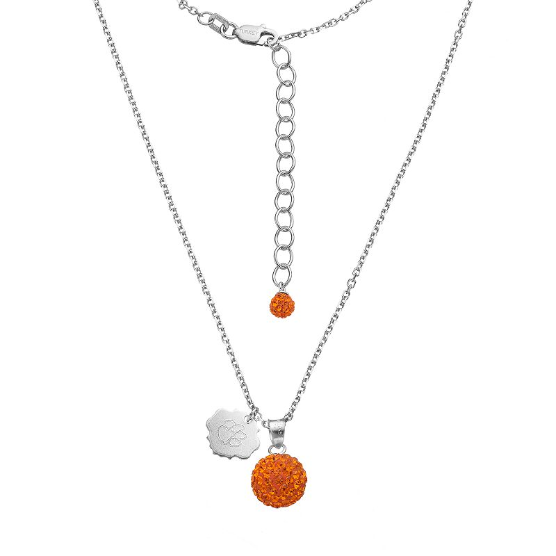 Clemson Tigers Crystal Sterling Silver Team Logo & Ball Pendant Necklace