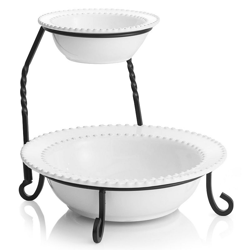 American Atelier Bianca Bead 2-Tier Sectioned Server