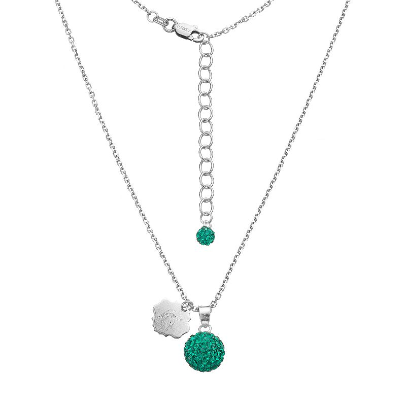 Michigan State Spartans Crystal Sterling Silver Team Logo & Ball Pendant Necklace