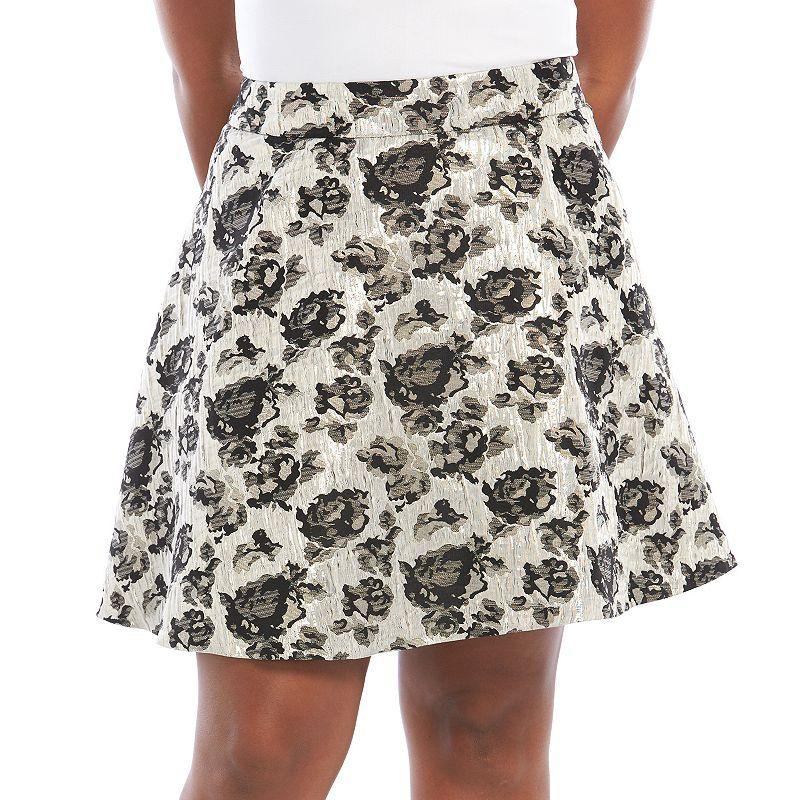Plus Size Apt. 9® Floral Jacquard Skirt
