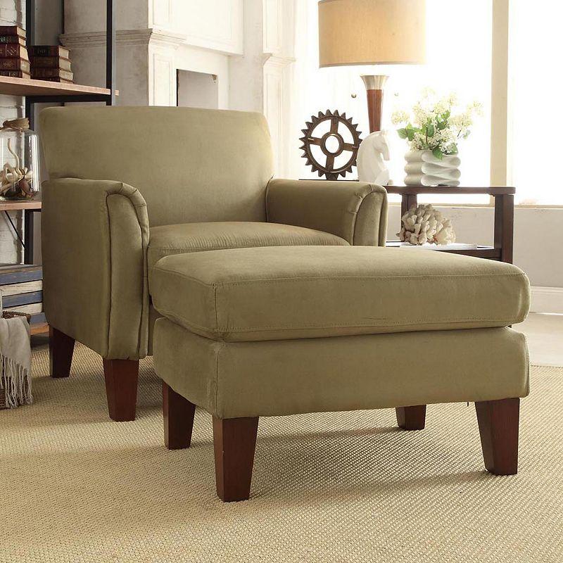 HomeVance Remmington 2-piece Microfiber Arm Chair and Ottoman Set