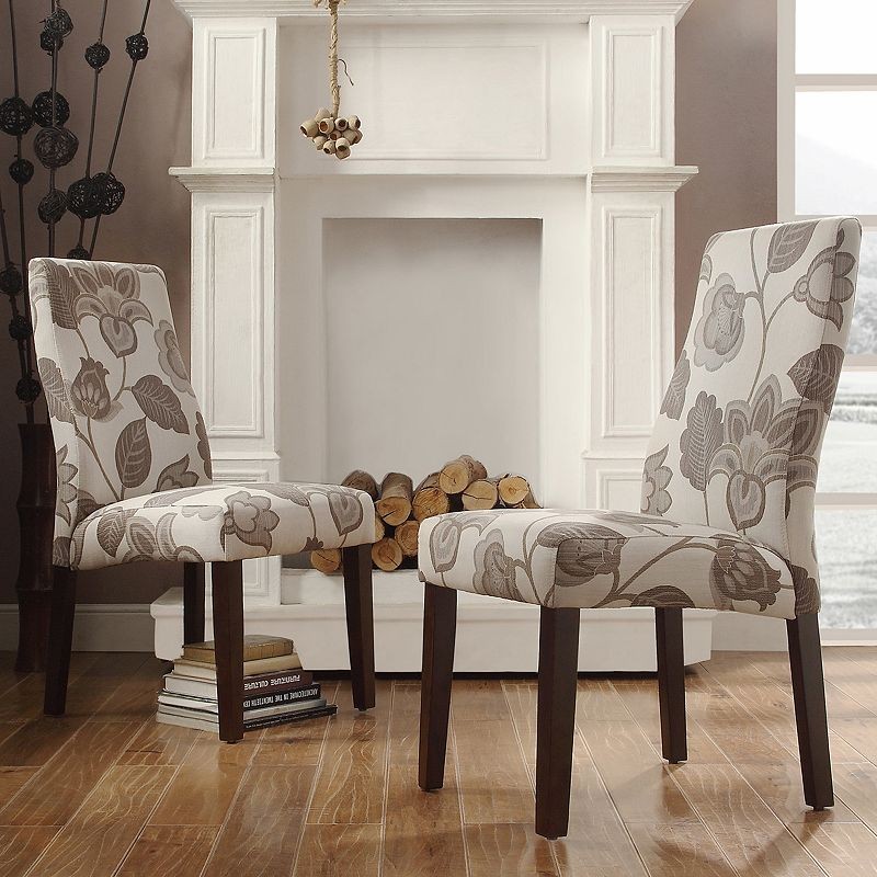 HomeVance Lacey 2-piece Printed Contoured Back Side Chair Set