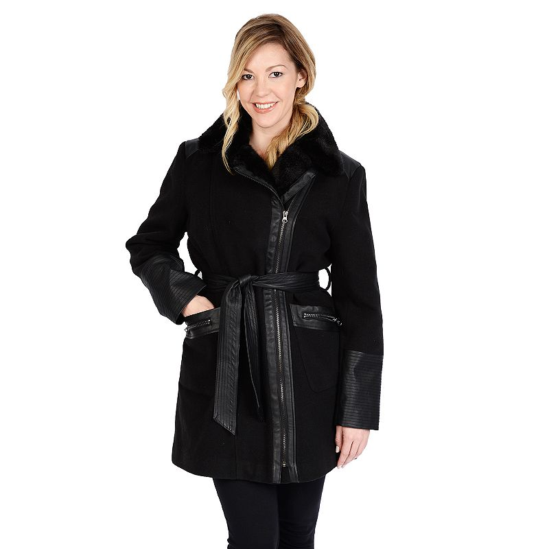 Women's Excelled Belted Faux-Wool Jacket