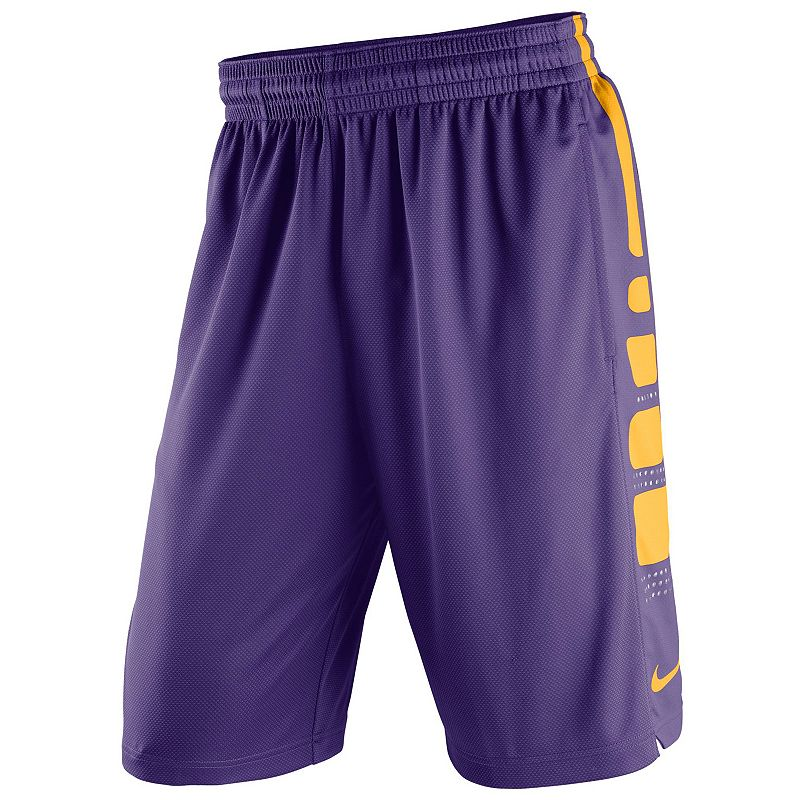 Men's Nike LSU Tigers Elite Striped Basketball Shorts