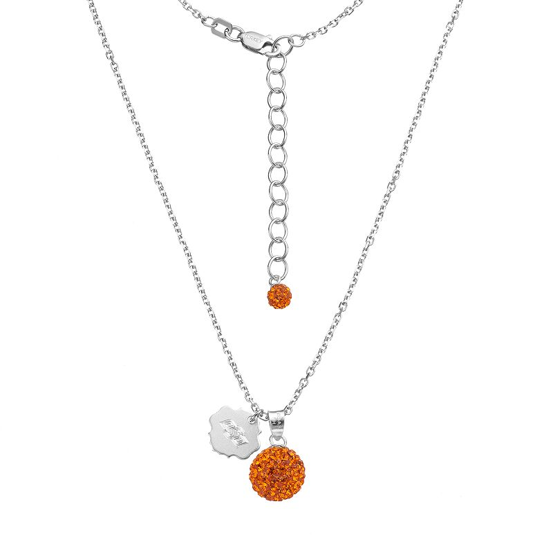 Oklahoma State Cowboys Crystal Sterling Silver Team Logo & Ball Pendant Necklace
