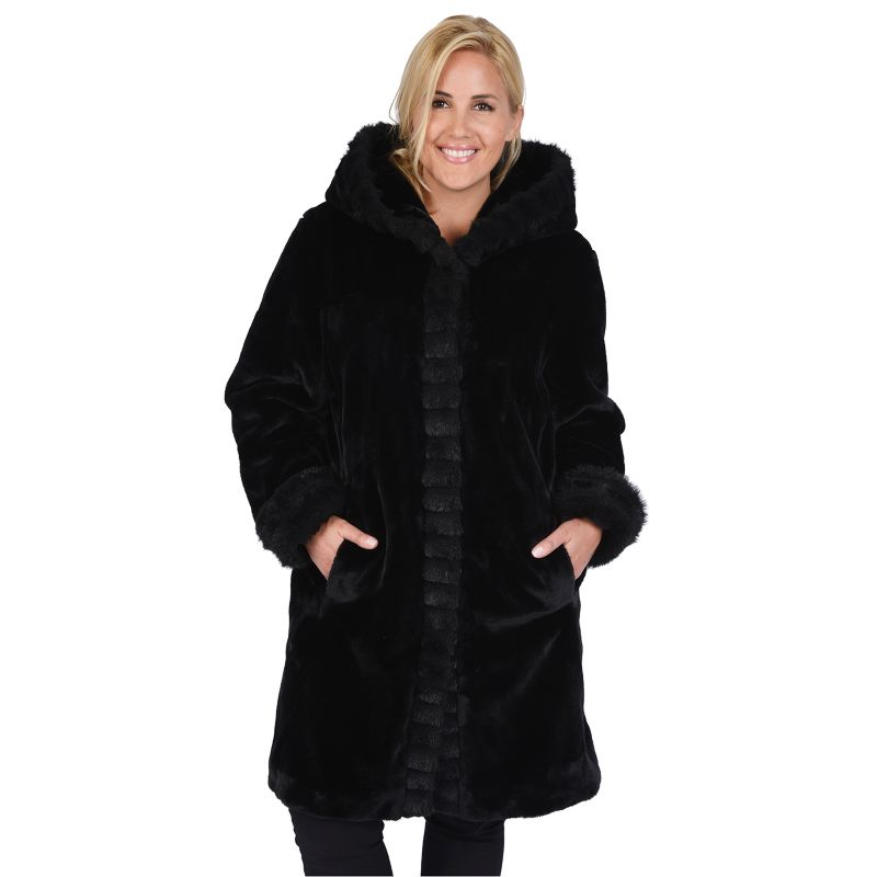 Plus Size Excelled Hooded Faux-Fur Jacket, Women's, Size: 1X, Black