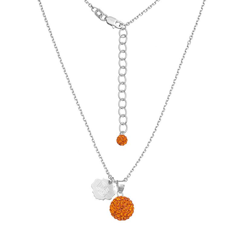 Oregon State Beavers Crystal Sterling Silver Team Logo & Ball Pendant Necklace