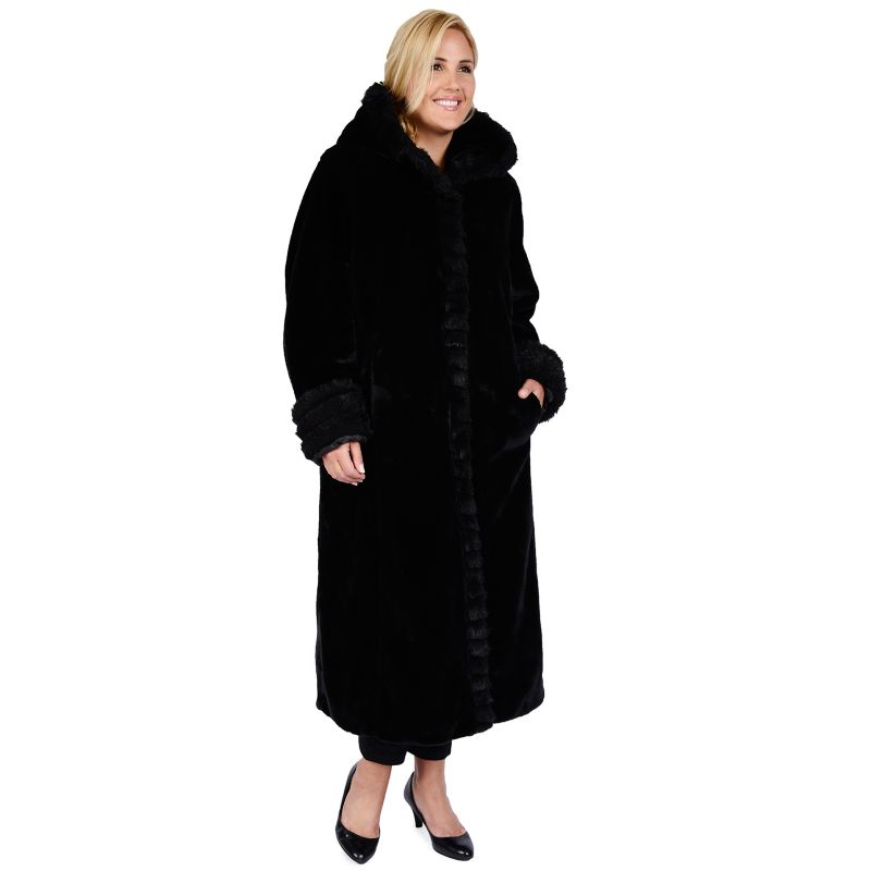 Excelled Hooded Faux-Fur Walker Jacket - Women's Plus Size, Size: 1X (Black)